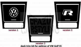 dash trim kit for the ashtray of Volkswagen VW Golf 6 VI aluminium