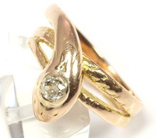 18kt 750 Jugendstil Schlangenring Goldring Schlange Diamant Gold Ring