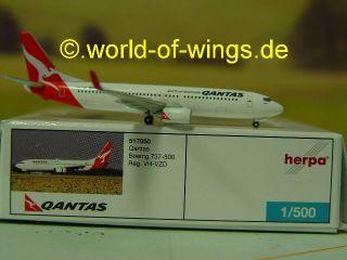 Qantas Boeing 737 800 VH VZD Herpa Wings 517850