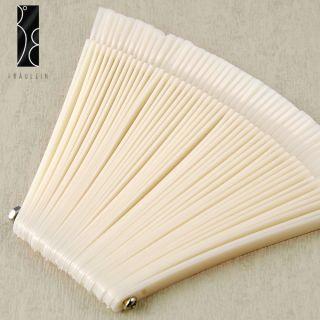50x nude False Nail Art Tips Sticks polish Display Fan for Practice