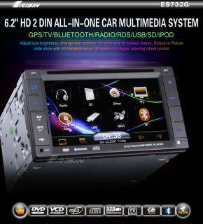 ES732AU 6.2 2 Din HD Car DVD Player GPS IPOD TV Bluetooth