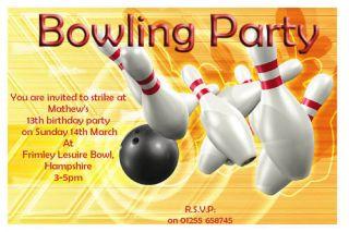 Personalised Tenpin Bowling Party Invitations No1