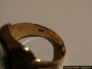 Herrenring alt aus 333er Gold mit grünem Turmalin