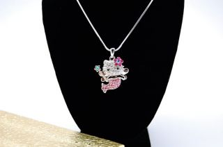 NEW HELLO KITTY BIG 3D BODY PINK FLOWER WITH WING NECKLACE ~~