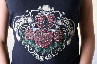 FINE49 Tattoo Rosen skull V Neck Rockabilly shirt EMO