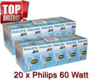 20 x Philips Glühbirne 60W 60 Watt klar E27 Glühbirnen Glühlampe