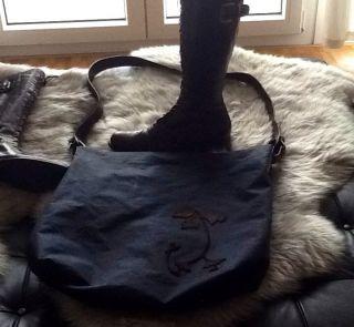 Shopper Tasche hochwertiger Stoff dark blue Echtleder XXL NP 789