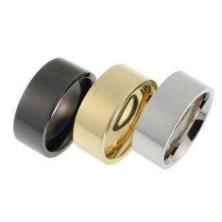 Edelstahl Ring/Ringe 9mm breit/flach Gold/Silber/Schwarz z.Auswahl