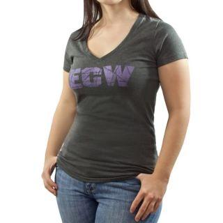 ECW Purple Logo Womens Grey T Shirt New