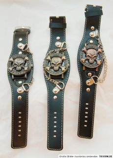 Echt Leder Gothic verdeckte Uhr Nieten Kreuz Schnalle Totenkopf Skull