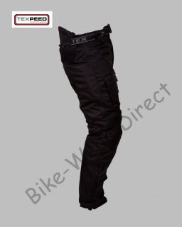 CE Armoured Waterproof Police Style Black Motorcycle Bike Trousers