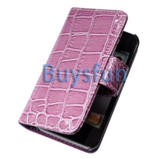Purple Crocodile Leather Cover Wallet Case Skin for Apple iPhone 4 4G