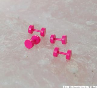 Stck pink leuchtend Doppel Fake Tunnel Ohrring plug Größe = 6 mm