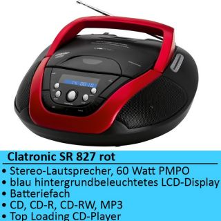 CD  Player Stereo Radiorecorder Clatronic SR 827 rot