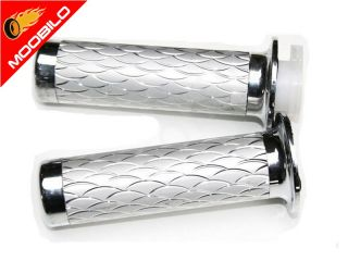 für Roller Motorrad 22+24mm Alugriffe Alu Griffe 808 Chrom