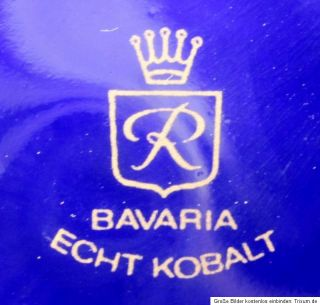 elegante Deckelvase Vase blau Echt Kobalt mit Goldverzierung Blumen 27