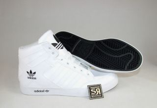 New Adidas Originals Mens HARD COURT HI White Black Shoes