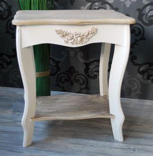 Hocker Sitzhocker aus Holz weiß braun Landhaus *164