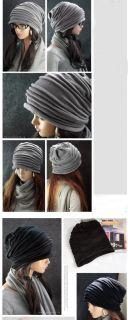 HOT Unisex Oversized Knit Baggy Beanie Hat Cap Black/Grey 2 Colours