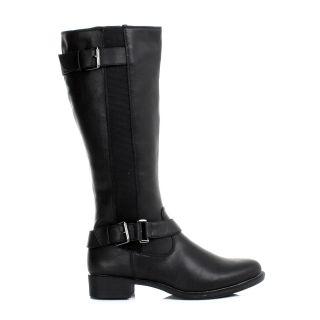 Damen Stiefel Schwarz Flach Reitstiefel Biker Kniehoch Freizeit Boots