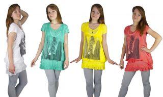 Damen Shirt Longshirt Tunika Lagenlook 2 teilig Weiß Weiss S M L XL
