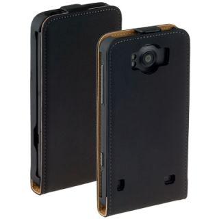Leder Flip Style Case Tasche black für HTC Titan Eternity Etui Hülle