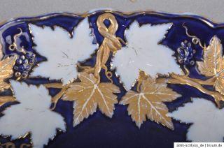Meissen ovale Prunkschale / Schale, kobalt & gold, 1. Wahl, 28,5 cm