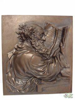 RELIEF KUNSTGUSS DER GELEHRTE BUDERUS 20 x 17,5cm GUSSEISEN 3D MOD. L