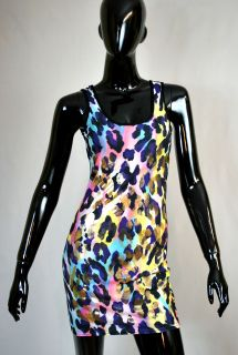 Träger Kleid Cocktailkleid Leo Bunt Leoparden Print Neon Pink Gold UK