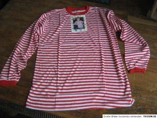 Ringelshirt T Shirt Rot Weiss Langarm Clown Kostüm Karneval Fasching