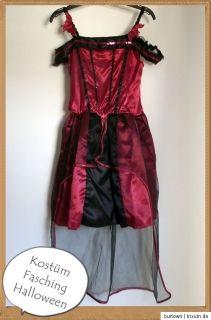Kostüm Mädchen Kleid Hexe Vampir Gothic Outfit Fasching Halloween