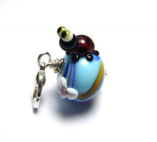 Pastell Beads* Lampwork MARIENKÄFER Perle Charm Anhänger Glasperle