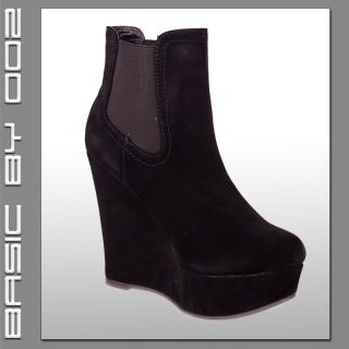 NEU Damen Plateau Keilabsatz Pumps Stiefelette Wedges High Heels Ankle
