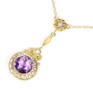 585 14kt Jugendstil Damen Gold Collier Goldcollier Amethyst Perle