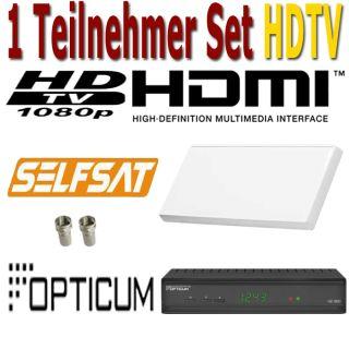 Premium Sat Anlage 1 Teilnehmer Selfsat H30D1 Flachantenne + 1x HDTV