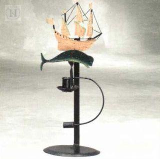 Pendelfigur Segelschiff mit Wal & Kerzenhalter