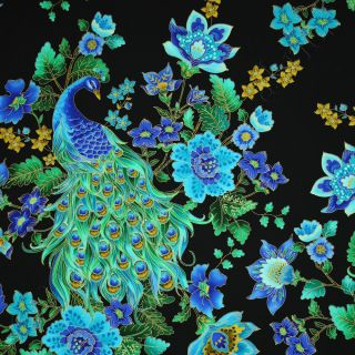 Timeless Treasures Plume Beautiful Peacock Black Cotton Quilt Fabric