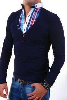 CRSM 2in1 Longsleeve T Shirt + Hemd Einsatz Polo Shirt Pullover