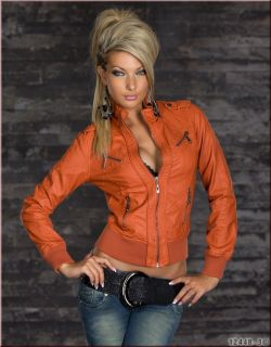 Sexy Coole Damen Lederimitat Jacke Biker Jacke Taillen lang in versch