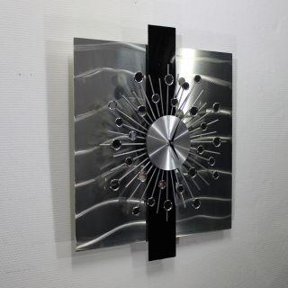 NEUERÖFFNUNG METAL&ART 3 D Design Uhr Wanduhr Metall Abstrakt Edel