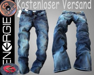 Neu ENERGIE Straight Leg JEANS D.G VINTAGE HOSEN EG98 Bleached Blau 4