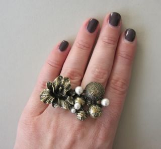 Doppelring Zwei Finger Ring double ring Vintage Blüten Perlen