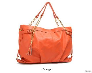 NEW Women Gold Chain Tassel Handles Totes Shoppers Shoulder Bags