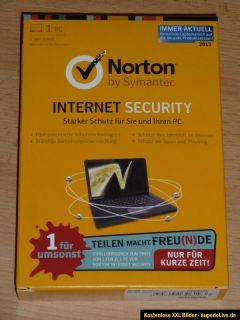 NORTON INTERNET SECURITY 2013 von Symantec für 1 PC   NEU in OVP