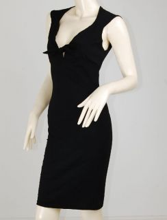 Vtg Twist Tie Front 50s Rockabilly Pencil Kleid Dress L