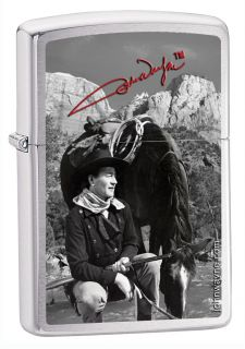 Zippo John Wayne & Horse The Duke Brushed Chrome Lighter, 8539