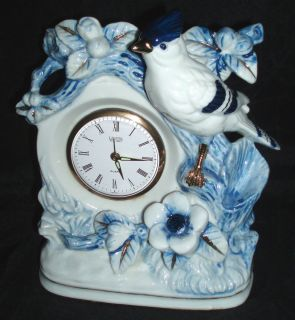 Landex Royal Craft Alarm Clock   Blue and White Porcelain Bird