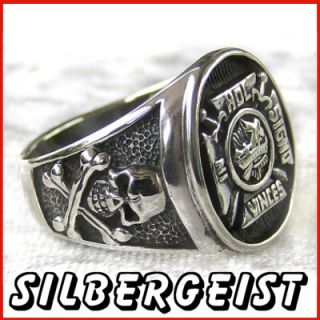Ring Freimaurer Siegelring 925 Silber Totenkopf Eisernes Kreuz