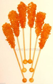 ROCK CANDY SWIZZLE STICKS   Orange Lollipops   10 wrapped candies