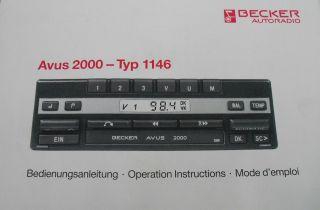 orig Mercedes Benz Becker Zusatz Bedienungs anleitung Radio Avus 2000